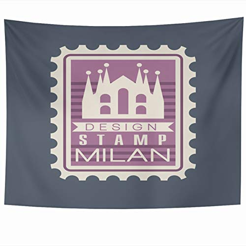 Postmark Originals (Ahawoso Tapestry 60 x 50 Inches Mail Blue Original Rectangular Postmark Milan Cathedral Italian Post Monument Historical World Famous Home Decor Wall Hanging Tapestries for Living Room Bedroom Dorm)