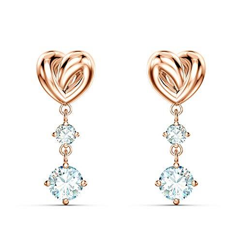 SWAROVSKI Women's Lifelong Heart Pierced Earrings, White, Rose-gold tone plated