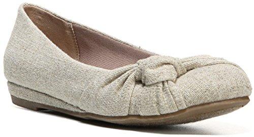 Fergalicious Women's Sloane Ballerina Flat,Natural Raw Linen,US 6.5 M (Raw Linen)
