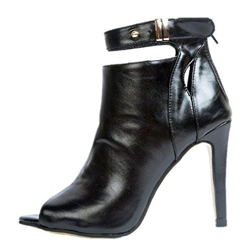 MERUMOTE Women Elegant Peep Toe-Pumps,Stiletto High Heels Size 2.5-12 UK Black