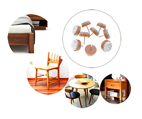 40pcs Round Heavy Duty Nail-on Anti-Sliding Felt Pad(Dia 1.1'' or 28mm,brown) for Wooden Furniture Chair Tables Leg Feet By Alimitopia by HuanX35 (Image #6)