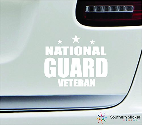 - National guard veteran 5.4x4.4 white soldier military war veteran america united states color sticker state decal vinyl - Made and Shipped in USA