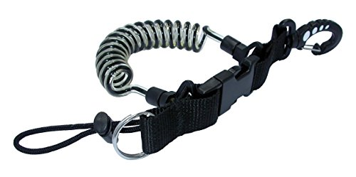 Phantom Aquatics Quick Release Coil Lanyard with Clip and SS Split Ring, Black (Release Scuba Quick)