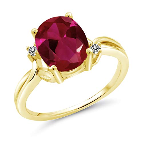 Gem Stone King 2.53 Ct Oval Red Created Ruby White Diamond 14K Yellow Gold Ring (Size 5)