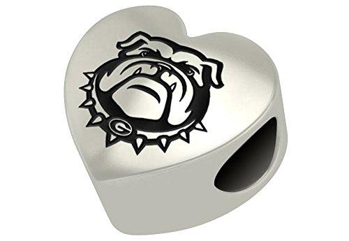 Georgia Bulldogs Sterling Silver Heart Bead Fits Most European Style Charm Bracelet