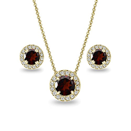 (Yellow Gold Flashed Sterling Silver Garnet Round Halo Necklace & Stud Earrings Set with CZ Accents)