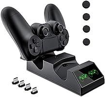 Cargador Controlador Mando PS4, KNONEW PS4 Estación de carga USB Base de Carga para Sony Playstation 4 / PS4 / PS4 Pro / PS4 mando delgado con 4 dongles de carga micro USB y 4 Grips para pulgar