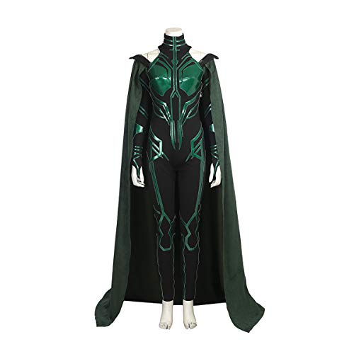 costory Womens Cosplay Costume Thor 3 Ragnarök Hela Jumpsuit Cloak Boots Halloween Party Costumes (S,A)