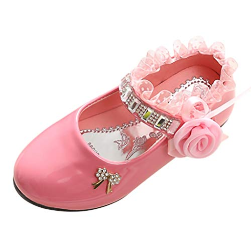 (CCFAMILY Children Toddler Infant Kids Baby Girls Lace Crystal Dance Single Princess Shoes Pink)