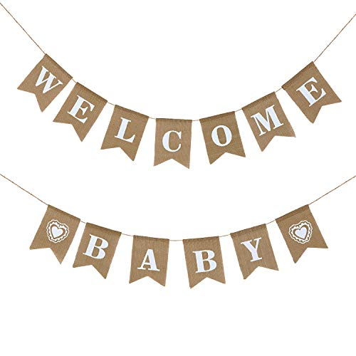 (LOLOAJOY Welcome Baby Banner Vintage Burlap Banner Linen Flags Decorative for Baby Shower Boy Girl Party)