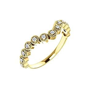 14k Yellow Gold 1/8 CTW Diamond Vintage-Inspired Contour Band - Size 7