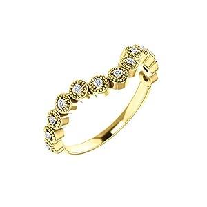 14k Yellow Gold 1/8 CTW Diamond Vintage-Inspired Contour Band - Size 7