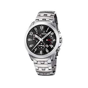FESTINA F16298/B - Reloj de caballero de cuarzo, correa de acero inoxidable (con cronómetro)