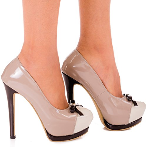 a Fashion donna tacco Black Bien col Scarpe Brown Va rvEwqrxTpU