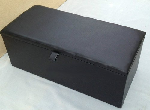 Extra Large Black Faux Leather Ottoman Toy Storage Blanket Box Ottoman Trunk