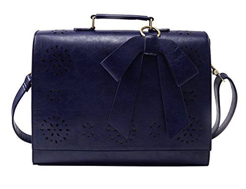 ECOSUSI Ladies PU Leather Laptop Bag Briefcase Crossbody Messenger Bags Satchel Purse Fit 14'' Laptop, Blue by ECOSUSI