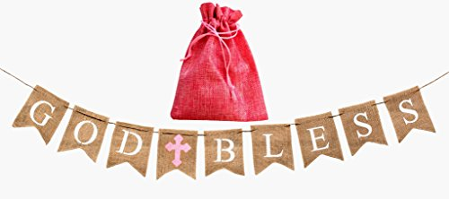 God Bless Baptism Banner,Holy Communion Party Christening Decoration Pink Cross-GIRL,beautiful burlap decor,BONUS storage bag,handmade versatile usage,Natural 100% biodegradable Environment friendly (Cross God Baby Bless)