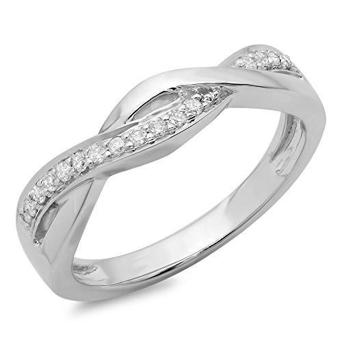 0.15 Carat (ctw) 10K White Gold Round Diamond Ladies Swirl Bridal Anniversary Promise Ring (Size (Diamond Swirl Promise Ring)