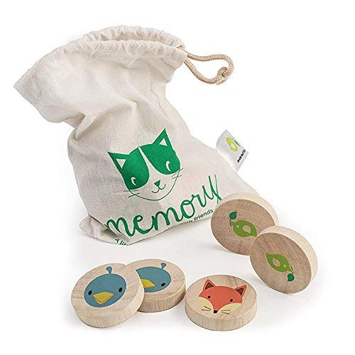Tender Leaf Toys Clever Cat Memory Game with Canvas Storage Bag - Fun Play While Improving Visual Memory Skills - 18 Months ()