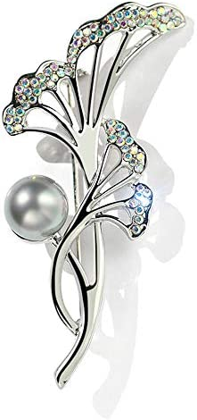 ブローチピンフェイクパールブローチ、シルバートーンギフトレディース誕生日結婚式ウェディングジュエリーコサージュの花で女性のためのヴィンテージエレガントなユニークなパールブローチ