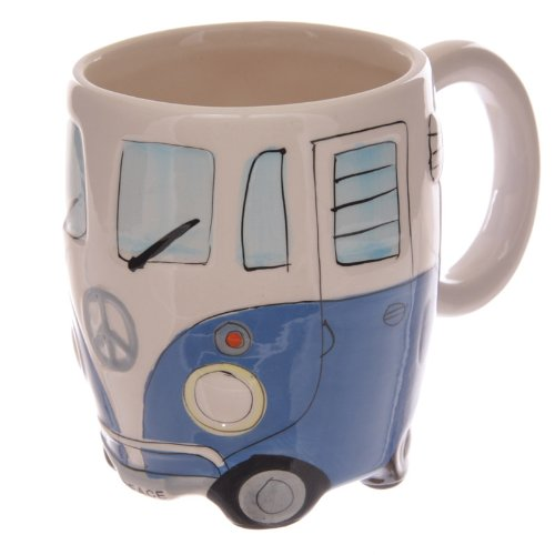 Volkswagen - Blue Ceramic Shaped Coffee Mug / Cup (VW Camper Van)