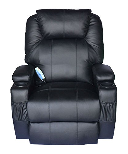 (Black Massage Recliner Sofa Leather Vibrating Heated Chair Lounge Executive w/Control)