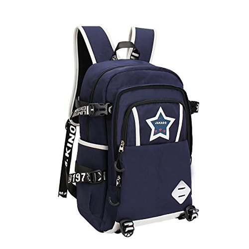 Waterproof School Bookbag Travel Hiking Backpack Dark Blue - 3