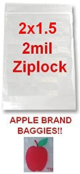 "1,000 2x1.5 2mil Apple Brand Clear Ziplock Bags 2 2"" 1.5 1.5"" X 1000 Baggies"