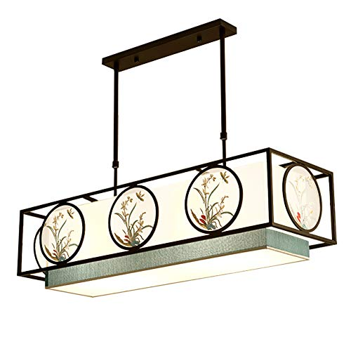 - TopDeng Neoclassical Classic Ceiling Pendant Lights, E26 4 Lights Embroidery Decorative Fabric Chandelier Lighting for Dining Room Restaurant Living Room-Chinese Style 90x30x25cm