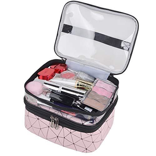 MKPCW Makeup Bags Double layer Travel Cosmetic Cases Make up Organizer Toiletry Bags (Pink)
