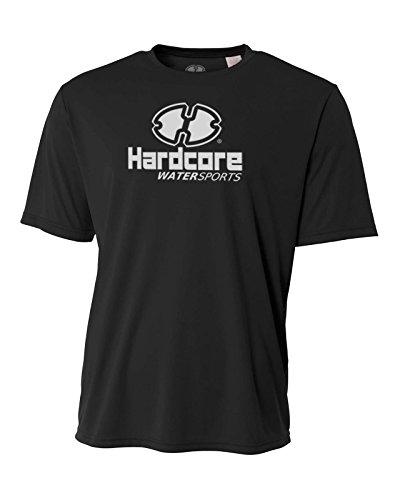Black Loose Fit Shirt - Hardcore Water Sports Mens Rash Guard Surf Swim Shirt SPF Protection Loose Fit Black