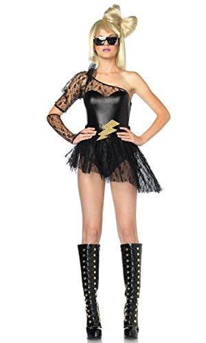 Leg Avenue Women's 3 Piece Lightening Rocker Bodysuit With Skirt And Gauntlet GlovesBlackX-Small