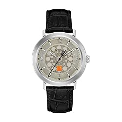 Bulova Men's Quartz Stainless Steel and Leather Dress Watch, Color:Black (Model: 96A164)