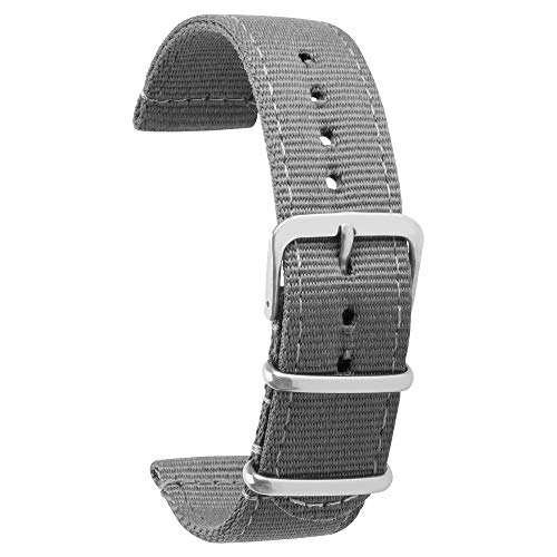22mm Watch Bands for Men Women Premuim Nylon Watch Strap with Stainless Steel Metal - Mlb Steel Watch Stainless