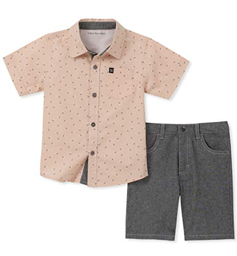 Calvin Klein Boys' Toddler 2 Pieces Shirt Shorts Set, Charcoal, 2T