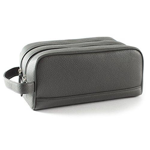 Leatherology Double Zip Toiletry Bag - Full Grain Leather Leather - Charcoal (gray) by Leatherology