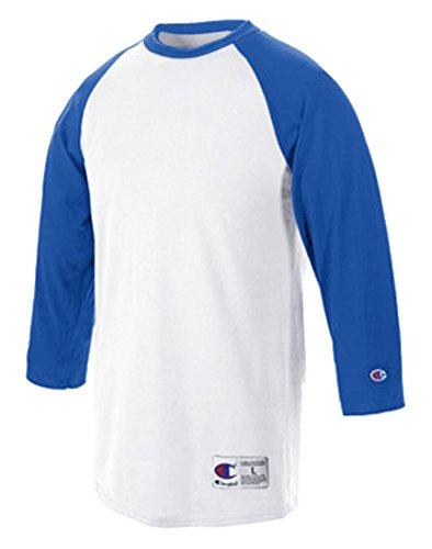 Champion Adult Raglan Baseball T-Shirt, Wht/Team Blue, Small