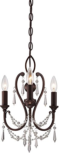 Minka Lavery 3138-284 Mini Candle Crystal Chandelier Lighting, 3-Light, 180 Watts, Vintage Bronze 12 W x 17 H