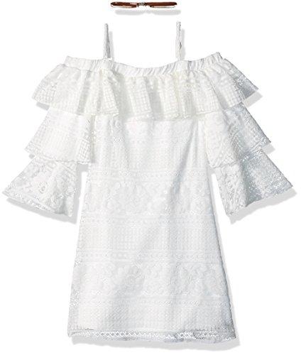 Amy Byer Big Girls' Off The Shoulder a-Line Dress, Ivory Floral Stripe, (Off White Dresses For Girls)