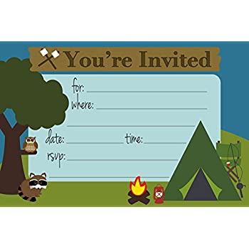 camping themed party invitations fill in style 20 count with envelopes by mh - Camping Party Invitations