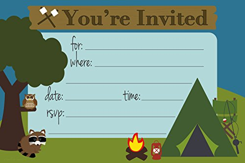 Camping Themed Party Invitations - Fill In Style (20 Count) With Envelopes by m&h invites