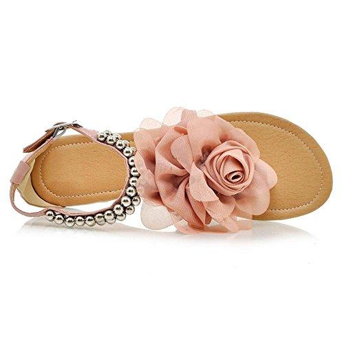 Plano Zapatos De Mujer Clip 3311 Tobillo RAZAMAZA Toe Rosado Verano Flor Al Sandalias xZfqzYqd