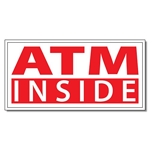 Atm Inside Business DECAL STICKER Retail Store Sign 4.5 x 12 inches