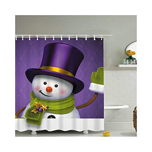 ANAZOZ Bath Curtain Eco-Friendly Polyester Multicolor Smile Snowman