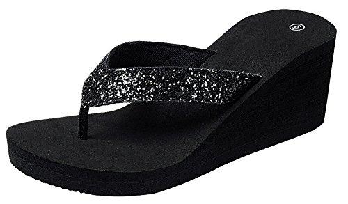 Cambridge Select Women's Open Toe Thong Glitter Slip-On Platform Wedge Flip-Flop Sandal (10 B(M) US, Black) Black Wedge Flip Flops
