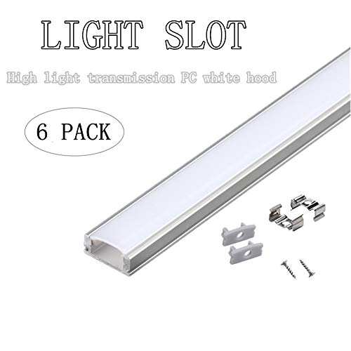 PG 6-Pack 3.3ft/1Meter 9x17mm U Shape LED Aluminum Channel System with PC Milky Cover, End Caps and Mounting Clips Aluminum Profile for LED Strip Light Installations, Suitable for All Kinds of led ()