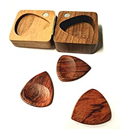 BicycleStore Wood Guitar Picks, 3 Pieces Plectrums Set Accessories Guitar Pick Set with Wood Storage Case for Ukulele…