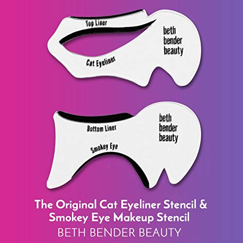 Cat Eyeliner & Eyeshadow Stencil - For Perfect Smokey Eyes or Winged Tip Look. Created by Celebrity Makeup Artist. Reusable, Easy to Clean & Flexible. Cruelty Free & Vegan, Made in USA.