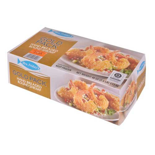 King and Prince Mrs.Fridays Breaded Round Shrimp - 21/25, 2.5 Pound -- 6 per case.