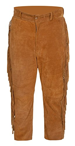 (Baba Geniuse International Men's Suede Leather Western Cowboy Leather Pant with Fringe (Brown, 34))